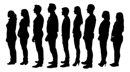 Illustration pour Full length of silhouette people standing in line against white background. Vector image - image libre de droit