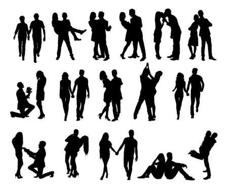 Illustration pour Full length of silhouette couple doing various activities against white background. Vector image - image libre de droit