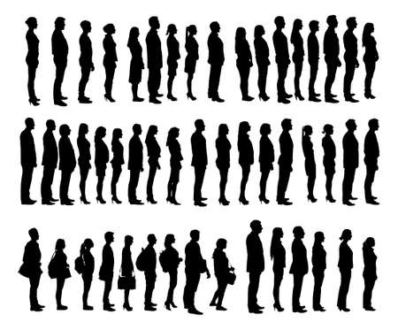 Collage of silhouette people standing in line against white background. Vector image