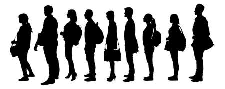 Illustration pour Full length of silhouette college students standing in line against white background. - image libre de droit