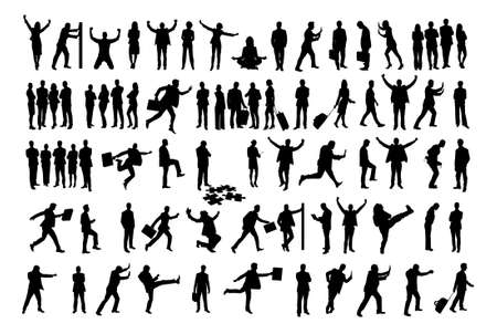 Illustration pour Collage of silhouette business people doing various activities over white background.  - image libre de droit