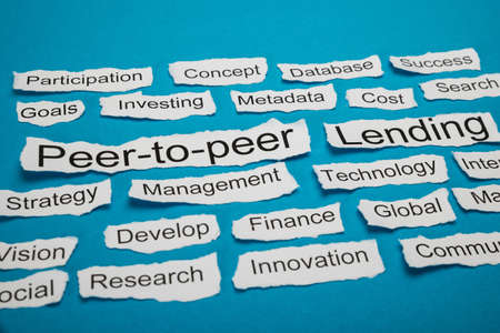 Peer-to-peer And Lending Text On Piece Of Paper Salient Among Other Related Keywords