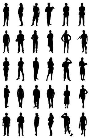 Illustration pour Set Of People Silhouettes From Various Professions. Vector Image - image libre de droit