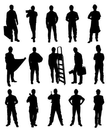 Illustration pour Silhouettes Of Handyman Set Over White Background - image libre de droit