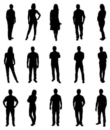 Illustration pour Set Of Trendy People Silhouettes. Vector Image - image libre de droit
