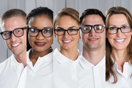 Photo pour Collage Of Smiling Multi-ethnic Young People Wearing Eyeglasses - image libre de droit