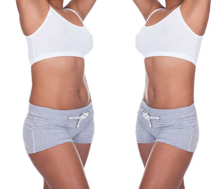 Photo pour Close-up Of Woman's Body Before And After Weight Loss On A White Background - image libre de droit