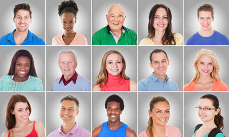 Photo pour Collage Of Smiling Casual People Group With Different Ethnicity On Gray Background - image libre de droit