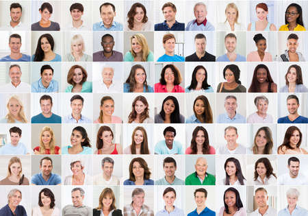 Photo for Collage Of Smiling Multiethnic People Portraits And Faces - Royalty Free Image