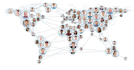 Photo pour Collage Of People With Network And Communication Concept On World Map. Global Business Concept - image libre de droit