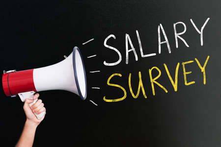 Megaphone Announcing Salary Survey Concept On Blackboard