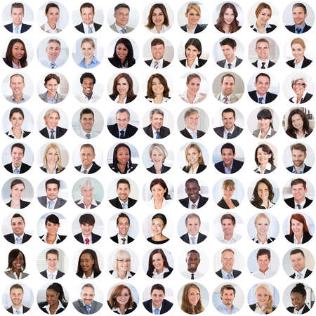 Photo pour Collage Of Diverse Multi-ethnic And Mixed Age Smiling Business People. Team Diversity Concept - image libre de droit