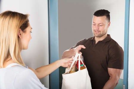 Foto für Young Handsome Man Giving Bag Of Grocery To Woman At Home - Lizenzfreies Bild
