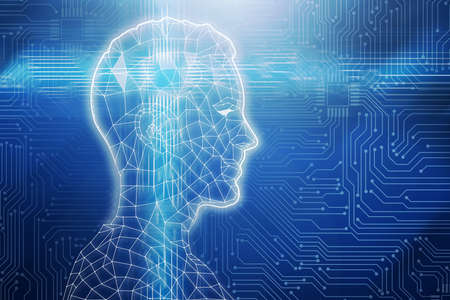 Abstract Illustration Of Digital Human Head On Circuit Board Blue Background