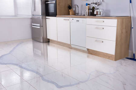 Photo pour Close-up Photo Of Flooded Floor In Kitchen From Water Leak - image libre de droit