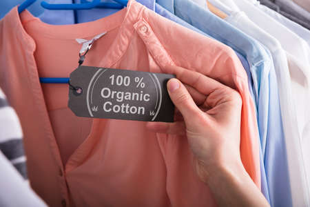 Foto de Close-up Of A Woman's Hand Holding Label Showing 100 Percent Organic Cotton - Imagen libre de derechos