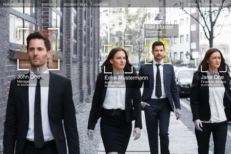 Photo pour Portrait Of Young Businesspeople Face Recognized With Intellectual Learning System - image libre de droit