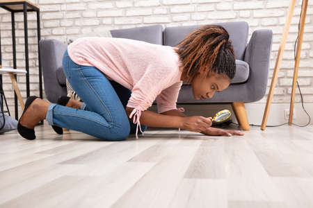 Foto de Side View Of A Young Woman Looking At Hardwood Floor Through Magnifying Glass - Imagen libre de derechos