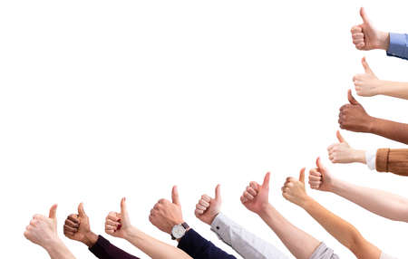 Photo pour Close-up Of People's Hand Showing Thumb Up Sign Against Isolated On White  Background - image libre de droit