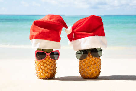 Photo pour Close-up Of Santa Hats And Sunglasses Over The Two Pineapples On Sand At Beach - image libre de droit