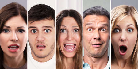 Photo for Collage Of Shocked People. Diverse Group OF People Portraits - Royalty Free Image