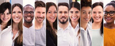 Photo pour Collage Of Smiling People. Diverse Group Of People Portraits - image libre de droit