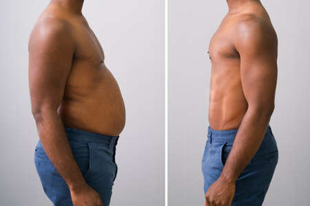 Photo pour Close-up Of A Man Before And After Loosing Fat On Grey Background - image libre de droit