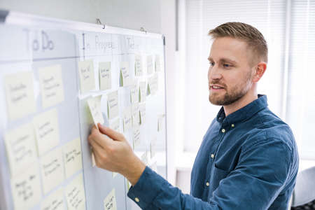 Photo for Kanban Schedule Plan On Project Board. Writing Sticky Notes - Royalty Free Image