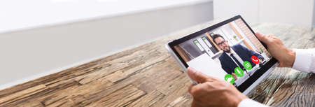 Photo pour Elearning Video Conference Call On Tablet Or Online Interview - image libre de droit