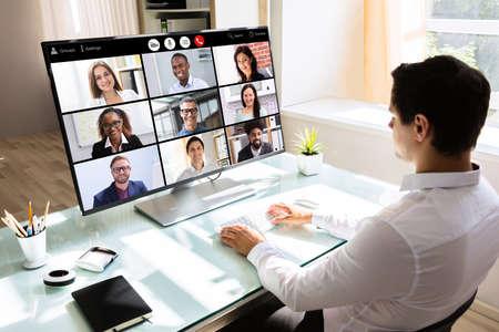 Foto de Video Conferencing Business Chat. Businessman Conference Webinar - Imagen libre de derechos