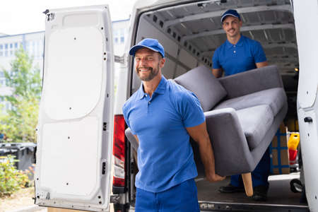 Photo for Furniture Move, Removal Delivery Near Truck Or Van - Royalty Free Image