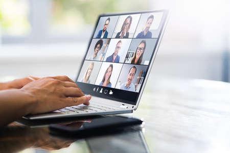 Photo pour Video Conference Webinar Call. Online Work Meeting - image libre de droit