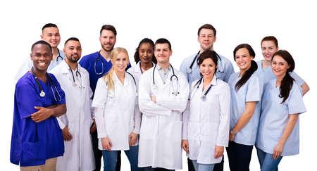 Foto de Diverse Doctor And Nurse Group Staff Meeting - Imagen libre de derechos