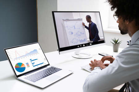 Photo pour Virtual Online Training Conference With Coach. Remote Webinar - image libre de droit
