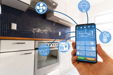 Photo for Smart Kitchen Home Automation Control Tech Features - Royalty Free Image