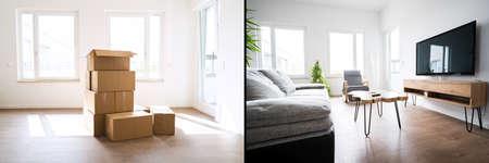 Photo pour Before And After Luxury Home Interior Decoration - image libre de droit