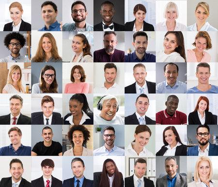 Photo pour Multicultural Faces Photo Collage. Portrait And Avatar Headshots - image libre de droit
