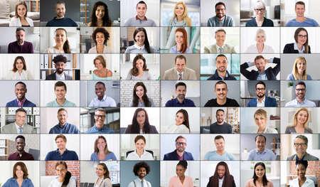 Photo pour Online Video Conferencing Call Group Chat Screen - image libre de droit