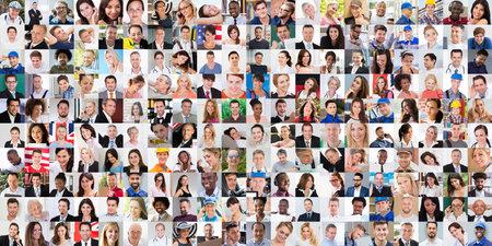 Photo pour Diverse People Face Or Avatar Portrait Collage - image libre de droit