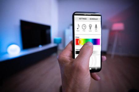 Photo pour Smart Light Control Using Mobile Phone And Smarthome - image libre de droit