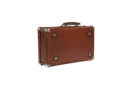 old antique suitcase with scuffed isolated on white background