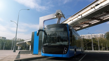 Photo pour Blue electric bus at the charging station.Modern trains on the monorail. The concept of ecological transport - image libre de droit