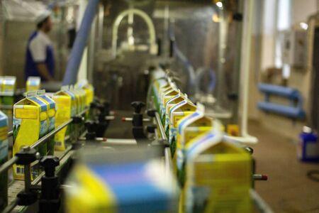 Dairy products on the factory milk packaging line. Dairy products in the package are moved on a conveyor belt . Conveyor belt . Food packaging.