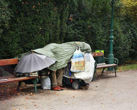Homeless in Stadtpark. Vienna. Austria