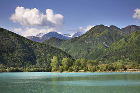 Reservoir on Soca River in Most na Soci. Slovenia