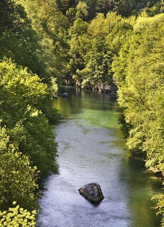 Soca River in Most na Soci. Slovenia