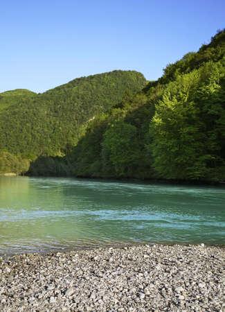 Soca River near Most na Soci town. Slovenia