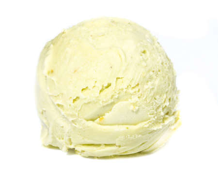 Scoop of pistachio ice cream from top on white background