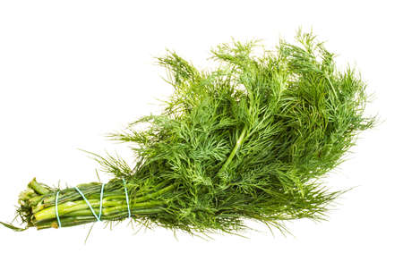 Fresh branches of green dill isolated on white background.