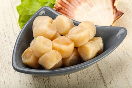 Photo pour Raw scallops heap in the bowl ready for cooking - image libre de droit
